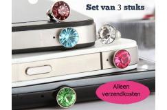 GRATIS 3x Trendy Diamond style dust plug voor je smartphone of tablet
