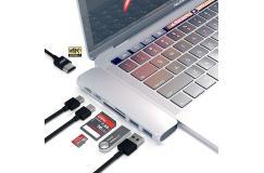 7 poorts Dual USB 3.1 Type-C Hub Adapter 4 K Thunderbolt 3 USB C Hub met USB Hub 3.0 TF SD Slot PD voor MacBook Pro