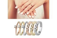 Vanaf €299 ipv €685 - Moderne Diamanten Ring; In witgoud, roségoud of geelgoud. Gratis verzending