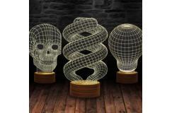 3D Illusie Lamp Hout